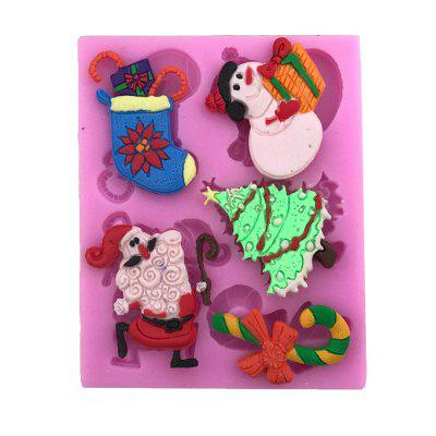 AY - X197 Christmas Series Crutches Snowman Socks Silicone Cake Decoration Mold