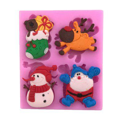 AY - X198 Christmas Series of Elk Snowman Socks Silicone Cake Decoration Mold