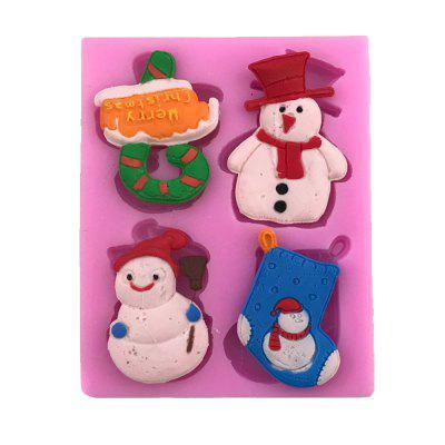 AY - X199 Christmas Series Crutches Snowman Socks Silicone Cake Mold