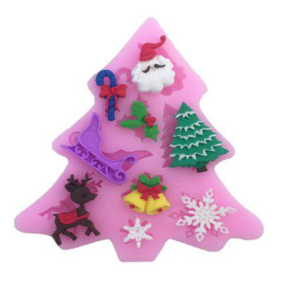 AY - XP13802 Christmas Tree Elk Snowflake Silicone Pattern Fondant Mold for Cake Decoration