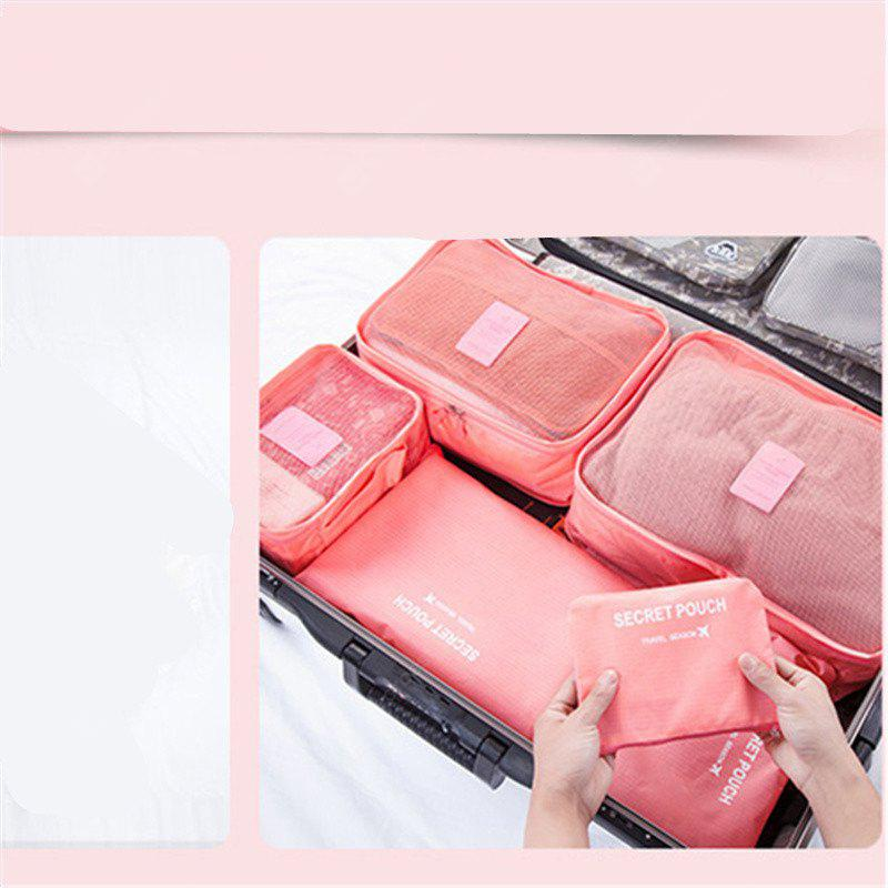 PINK Simple 7PCS Travel Clothes Storage Bag Parcel Package