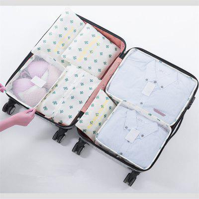 Fashion 7PCS Cacti Design Travel Luggage Bag