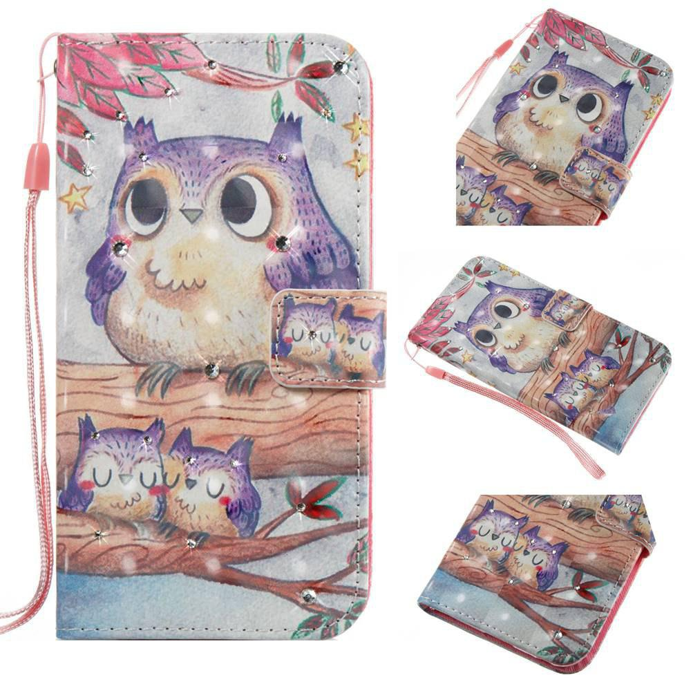 Purple Owl 3D Painting Point Drill Phone Case for Iphone X