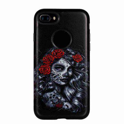 Two-In-One Painted Embossed Pu+Tpu Phone Case for Iphone 7 Plus / 8 Plus softlyfit embossed tpu phone cover for iphone 7 plus bob marley