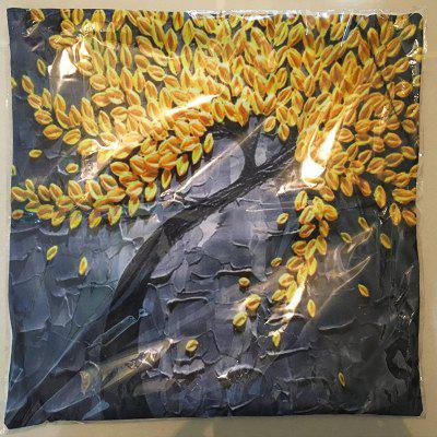 3D Trees Painting Style Pattern Painting Style Golden Rice Pillow Cover flame trees of thika