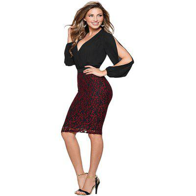 Buy BLACK XL Women's Sheath Dress Lace Patchwork Deep V Neck Sexy Dress for $26.48 in GearBest store