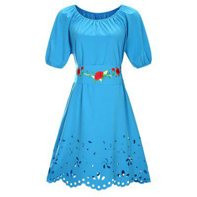 Round Collar Embroidery Belt Plus Size Dress