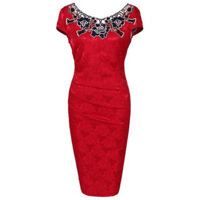 2017 Women Ladies Dress New Europe Rose Decals Pencil Dress Lace Patchwork Funeral Dress Ladies Attended Formal Party DressMini Dresses<br>2017 Women Ladies Dress New Europe Rose Decals Pencil Dress Lace Patchwork Funeral Dress Ladies Attended Formal Party Dress<br><br>Dresses Length: Mini<br>Elasticity: Super-elastic<br>Fabric Type: Jersey<br>Material: Polyester, Cotton<br>Neckline: Scoop Neck<br>Package Contents: 1 x dress<br>Pattern Type: Patchwork<br>Season: Summer<br>Silhouette: Sheath<br>Sleeve Length: Short Sleeves<br>Style: Sexy &amp; Club<br>Weight: 0.6000kg<br>With Belt: No