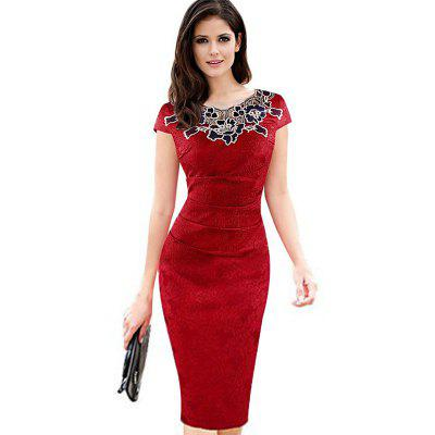 Buy RED 2XL 2017 Women Ladies Dress New Europe Rose Decals Pencil Dress Lace Patchwork Funeral Dress Ladies Attended Formal Party Dress for $26.72 in GearBest store