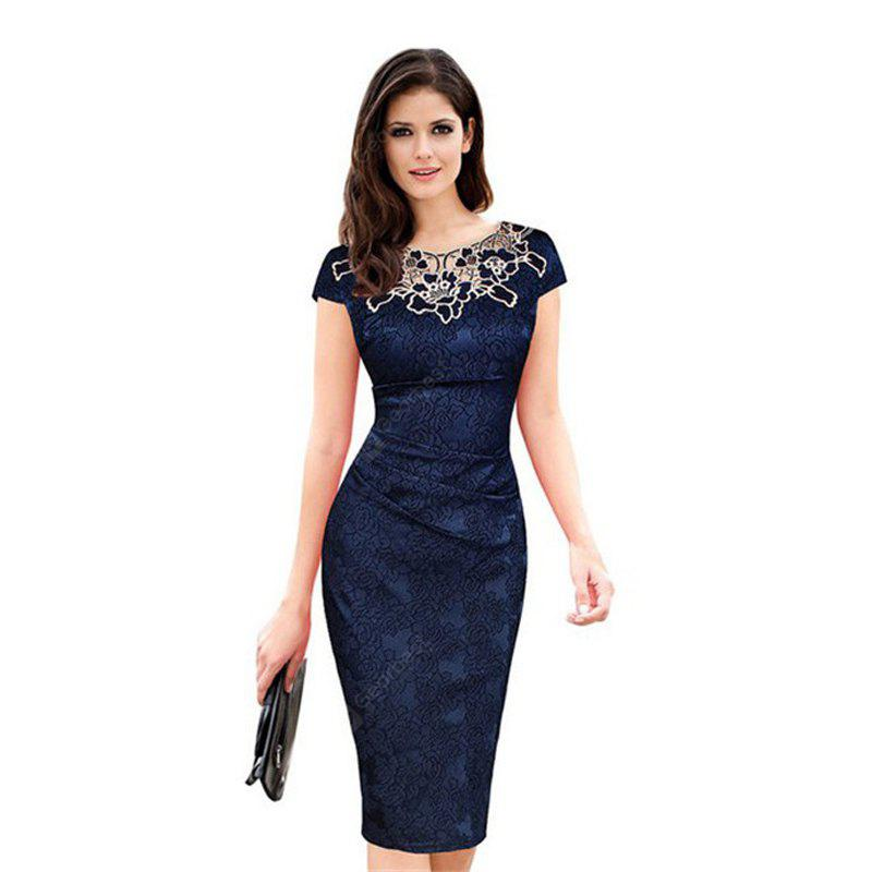 2017 Women Ladies Dress New Europe Rose Decals Pencil Dress Lace Patchwork Funeral Dress Ladies Attended Formal Party Dress