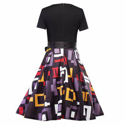 Women Halloween Dresses 2017 Vintage New Geometric Stitching Belts A Word Dresses Women Party / Sisters Christmas Party DressesBodycon Dresses<br>Women Halloween Dresses 2017 Vintage New Geometric Stitching Belts A Word Dresses Women Party / Sisters Christmas Party Dresses<br><br>Dresses Length: Knee-Length<br>Elasticity: Super-elastic<br>Fabric Type: Twill<br>Material: Polyester, Cotton<br>Neckline: V-Neck<br>Package Contents: 1 X dress<br>Pattern Type: Argyle<br>Season: Summer<br>Silhouette: Sheath<br>Sleeve Length: Short Sleeves<br>Style: Sexy &amp; Club<br>Weight: 0.6000kg<br>With Belt: No
