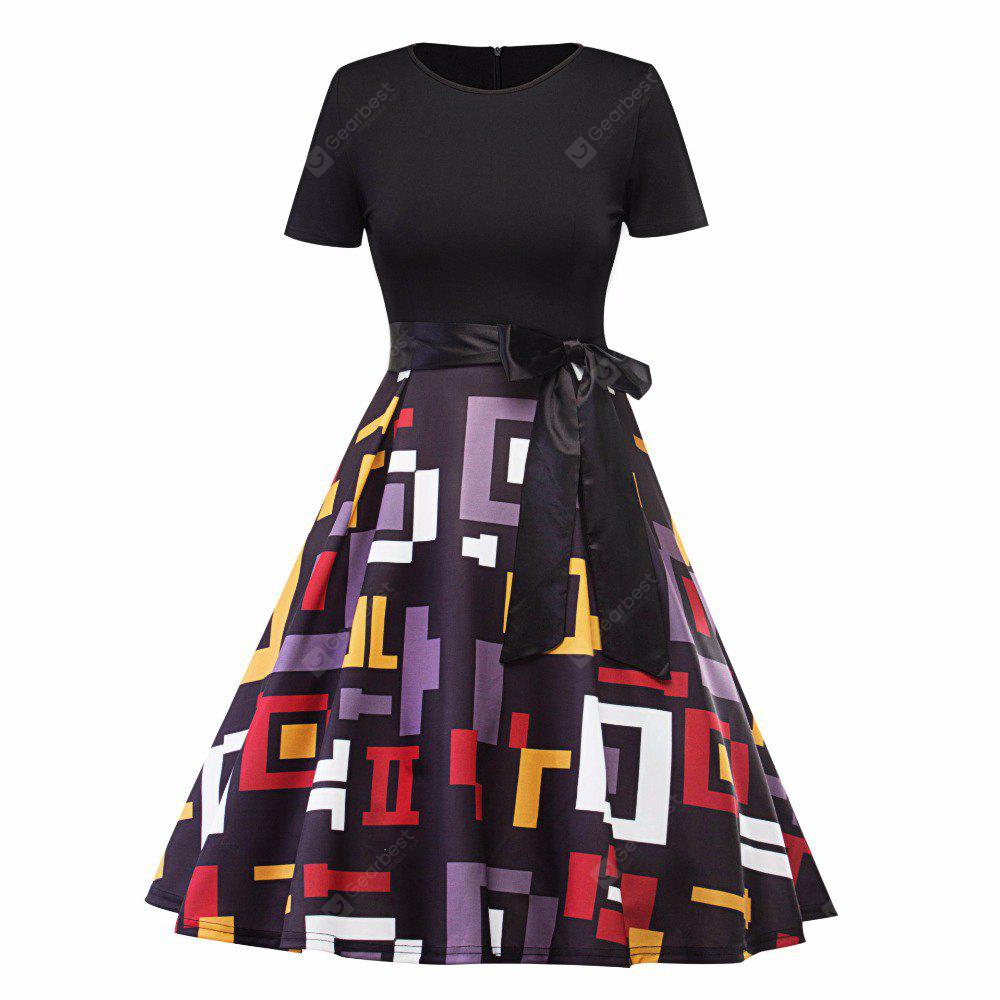 Women Halloween Dresses 2017 Vintage New Geometric Stitching Belts A Word Dresses Women Party / Sisters Christmas Party Dresses