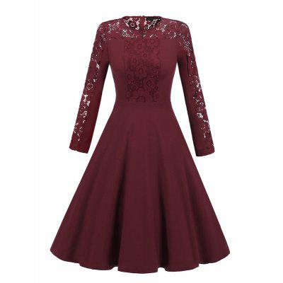 Women Long Sleeve Lace Dress New Vintage 50S Lace Round Round Long Sleeve Collar Slim Dress Women Christmas Party Dress