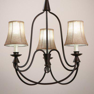 3 E14 Bulb Base Nordic Vintage Rust Metal and Fabric Chandelier Light