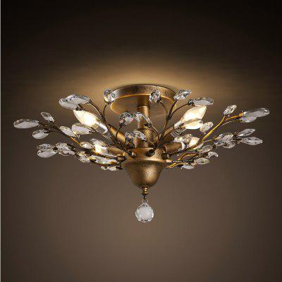 4 E14 Bulb Base Nordic Vintage Rust Metal and Crystal Ceiling Light