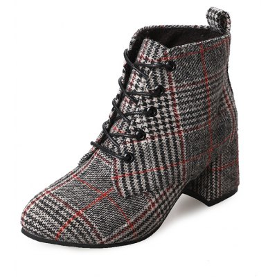 DG-F608 Pointed To Tie with Coarse Checkerwork Bumading Boots