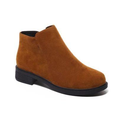 Buy BROWN 37 WY185 Round Side Zipper Low Heel Boots Fashion Boots for $25.24 in GearBest store