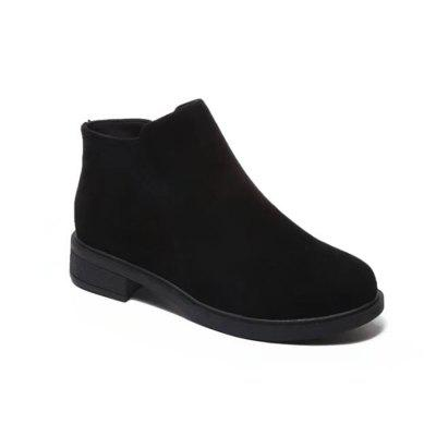 Buy BLACK 37 WY185 Round Side Zipper Low Heel Boots Fashion Boots for $25.24 in GearBest store