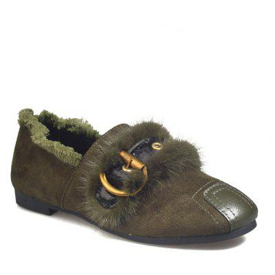 Female Flat Square Shallow Mouth Suede Fashion Fur Shoes