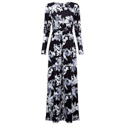 Buy BLACK WHITE L Autumn Runway Maxi Long Sleeve Retro Floral Print Vintage Floor Length Party Formal Maxi Dress Plus Size for $27.51 in GearBest store