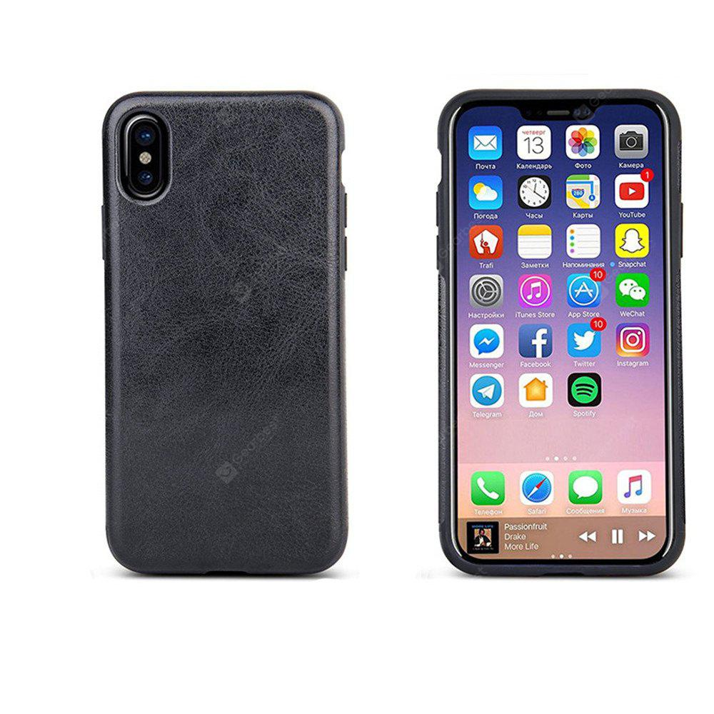 Flexible Soft TPU with Premium PU Leather Layer Skin Case Cover for Apple IPhone X