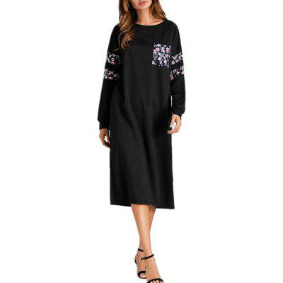 New European and American Fashion Sports Casual Colour Splicing Pocket Long Dress