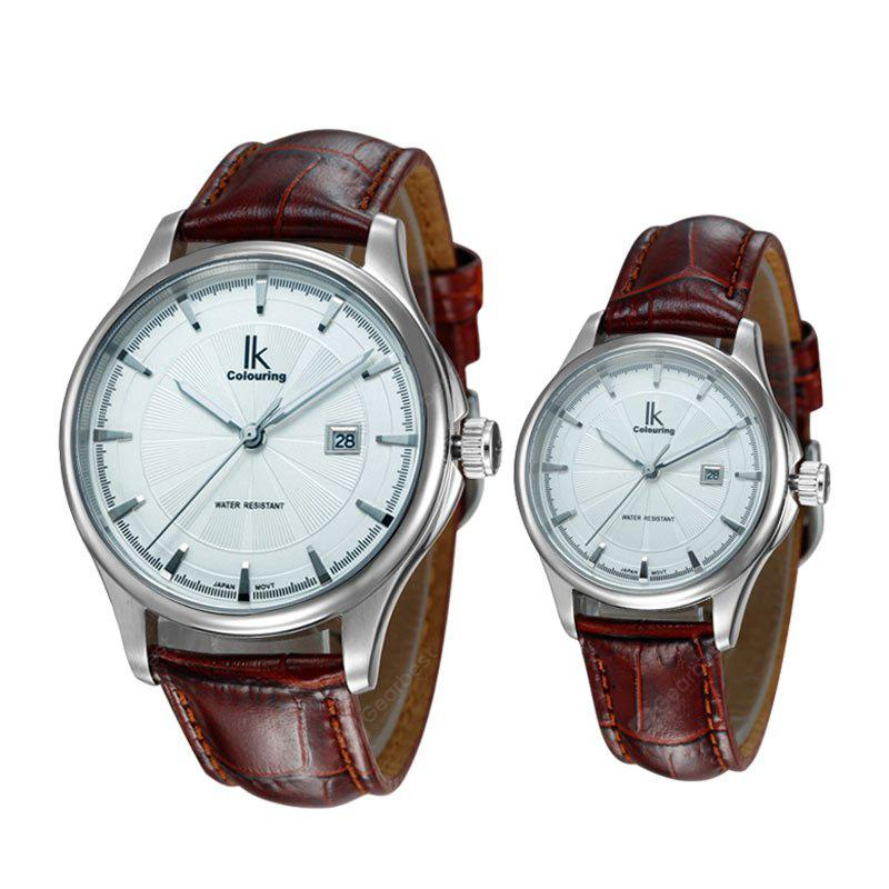 IK COLOURING 98455 4616 Leather Band Couple Watch