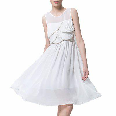 Buy OFF-WHITE L VING Black Medium Style Sleeveless Slim Dress Chiffon Pleated Dress Women for $20.17 in GearBest store