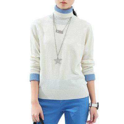 VING Turtleneck Sweaters Contrast Color Full Sleeve Slim-Cut Knitted Tops