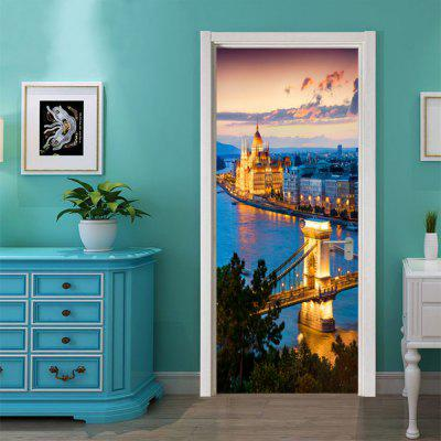 DSU Dusk City Lightscape Wall Sticker Murale Chambre Porte Affiche Décoration