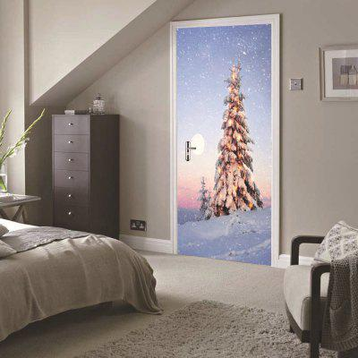 DSU Christmas Outside The House Scenery Wall Sticker Mural Bedroom Door Poster Home Decor