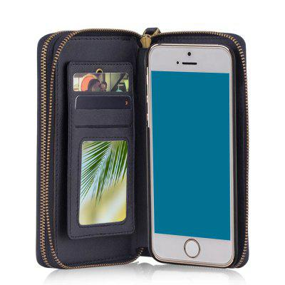 Wkae Multi Functional Retro Double Zipper Leather Case Cover for IPhone 5 / 5S