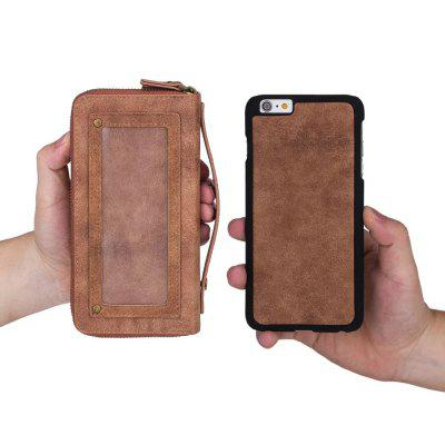 Wkae Multi Functional Retro Double Zipper Leather Case Cover for IPhone 6 / 6S