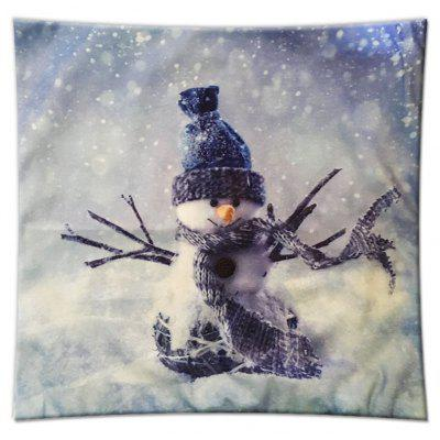 Christmas Gift Series Romantic Snowman Flannel Pillow Cover