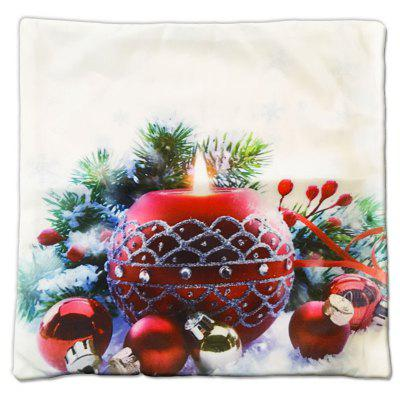 Christmas Gift Series Romantic Red Candle Round Flannel Material Pillow Cover