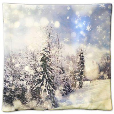 Christmas Gift Series White Pure Forest Painting Pillow Cover