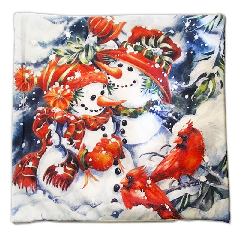 Christmas Gift Series  Snowman Brothers Cloth Material Pillow Cover