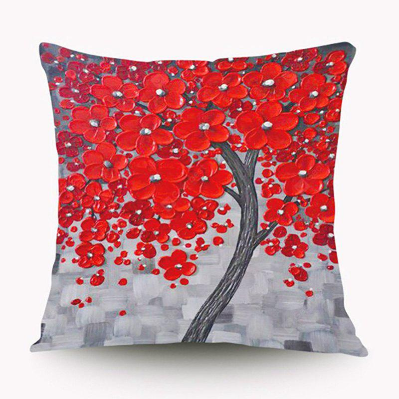 3D Trees Painting Style Pattern Painting Style Red Peach Blossom Pillow Cover