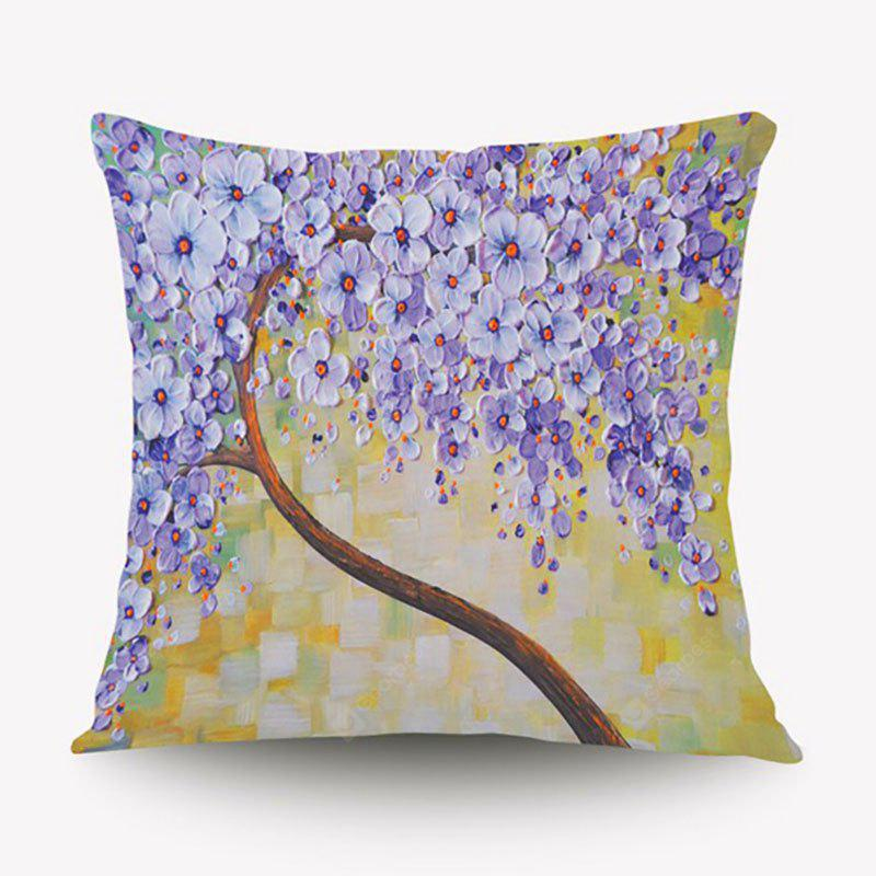 3D Flower Trees Painting Style Series Of Three-dimensional Pattern Painting Style Cloth Purple Flowers Pillow Cover