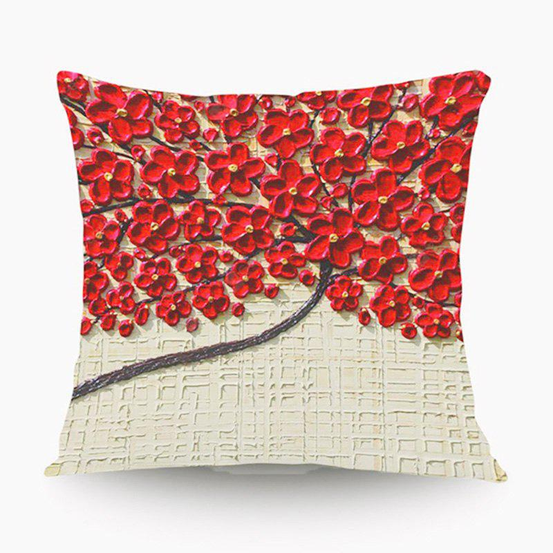 3D Flower Trees Painting Style Series Of Three-dimensional Pattern Painting Style Peach Blossom Pillow Cover