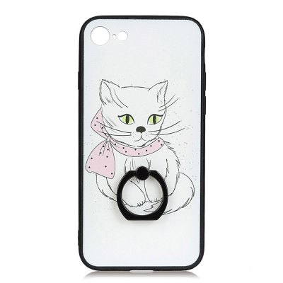 KaZiNe Azine Embossment Tpu + Pc Finger Ring Kickstand Cell Phone Case Cat for   iPhone 7/8