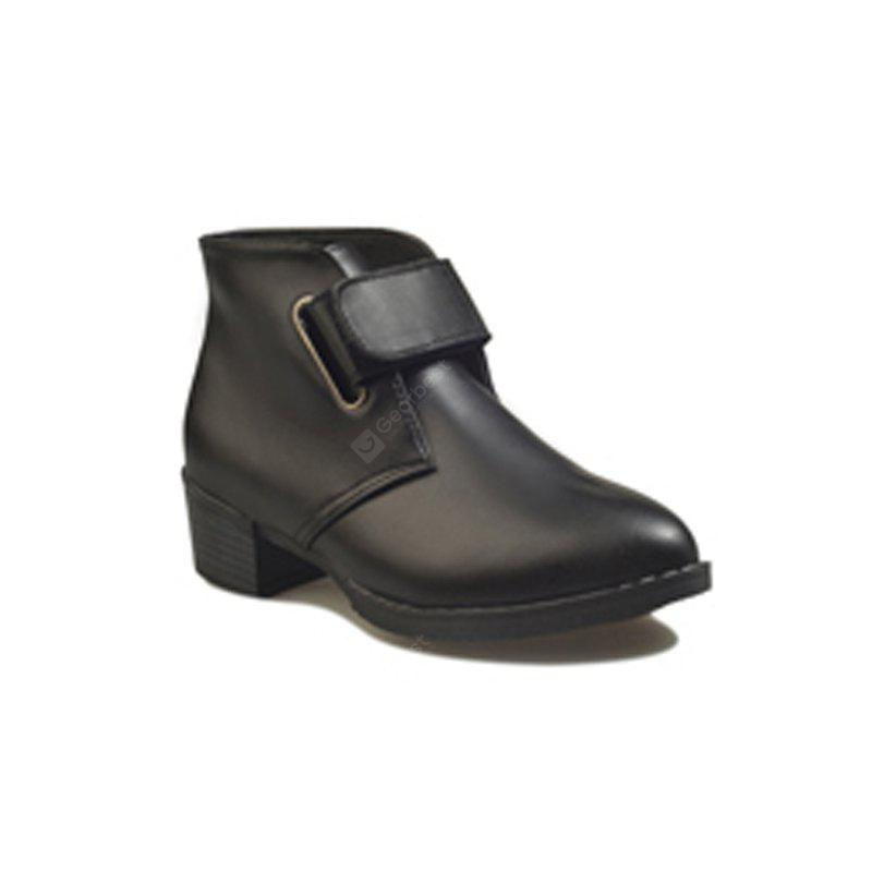 Velcro Boots with Thick Pointed Heels