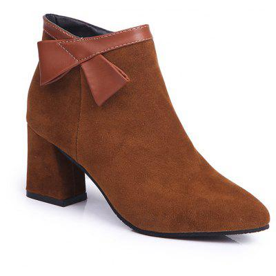 Buy BROWN 38 Martin Pointed All-Match Boots with Thick Boots Boots and Frosted Ankle Boots. for $55.00 in GearBest store