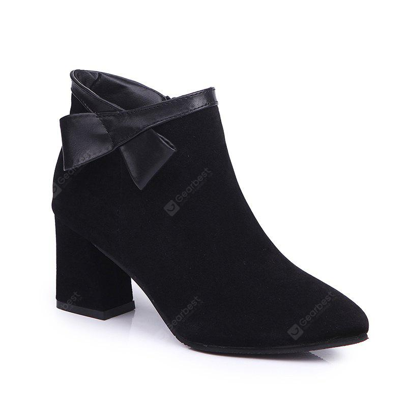 BLACK 37 Martin Pointed All-Match Boots with Thick Boots Boots and Frosted Ankle Boots.