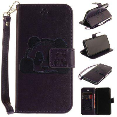 Buy PURPLE The Panda Mode PU+TPU Leather Wallet Case Design with Stand and Card Slots Magnetic Closure for iPhone X for $4.35 in GearBest store
