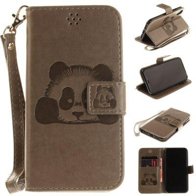 The Panda Mode PU+TPU Leather Wallet Case Design with Stand and Card Slots Magnetic Closure for iPhone X