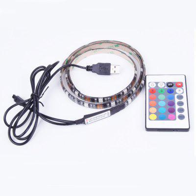 True - Shine RGB IR Remote Controlled LED Strip Light DC5VLED Strips<br>True - Shine RGB IR Remote Controlled LED Strip Light DC5V<br><br>Beam Angle: 120<br>Brand: True - Shine<br>Certifications: CE,RoHs<br>Color Temperature or Wavelength: Warm White 3000 - 3500k, Natural White 3500 - 4500k, White 6000 - 6500k, Red 650 - 660nm, Green 515 - 520nm, Blue 445 - 450nm<br>CRI: &gt;72<br>Features: with Remote Control, Self-Adhesive, Color-changing<br>LED Quantity: 27<br>Length ( m ): 0.9<br>Light color: RGB<br>Light Source: LED<br>Light Source Color: RGB<br>Package Content: 1 x 90CM LED Strip, 1 x RGB Controller? 1 x 90CM USB Power Cord<br>Package size (L x W x H): 13.20 x 9.00 x 3.00 cm / 5.2 x 3.54 x 1.18 inches<br>Package weight: 0.0960 kg<br>Power Supply: 5V,DC,USB<br>Product size (L x W x H): 90.00 x 1.00 x 0.23 cm / 35.43 x 0.39 x 0.09 inches<br>Product weight: 0.0880 kg<br>Type: Waterproof, Flexible LED Light Strips, RGB Controlers, LED Strip Light, RGB Strip Lights<br>Voltage: DC 5V<br>Waterproof Rate: IP65<br>Wattage (W): 7<br>Width( mm ): 10mm