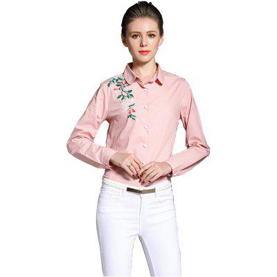 New products gadgets Doll Collar Embroidered Long Sleeves Casual Wild Cotton Shirt