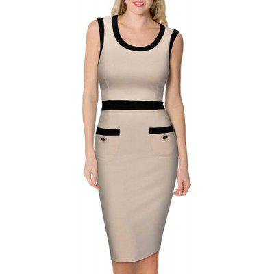 Women's Sheath Dress Color Block O Neck Sexy Dress
