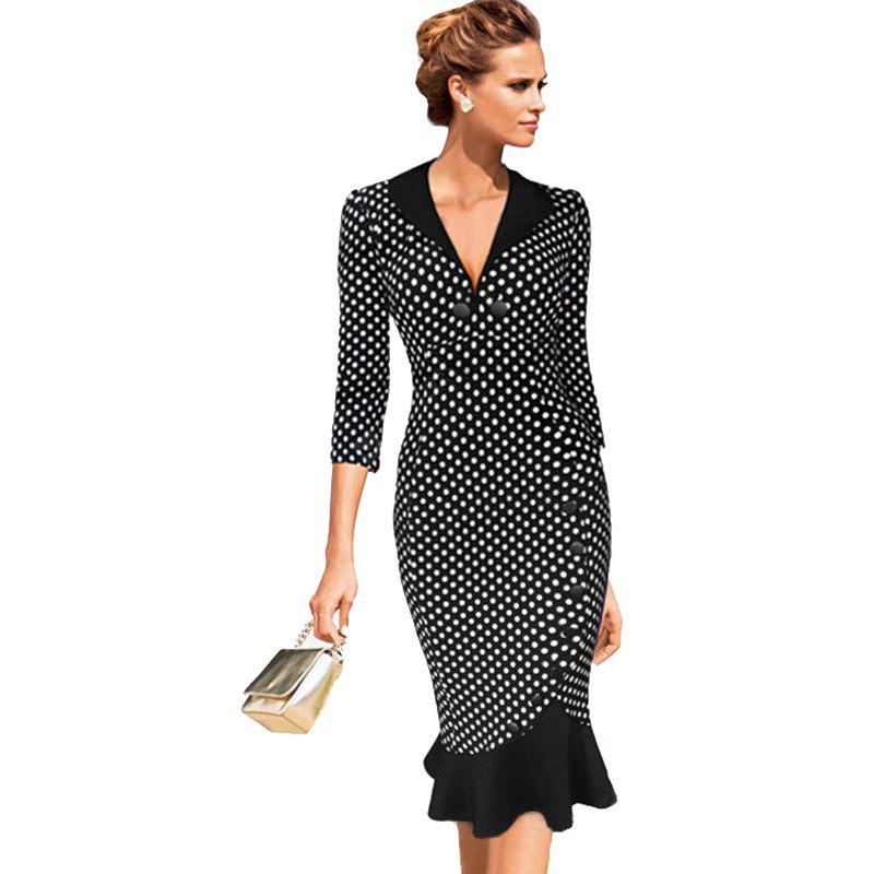 Point de vue des femmes V-Neck Fashion Fashion Fish Dress